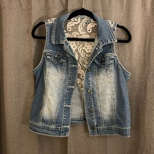 Maurices Distressed Jean Vest with Lace Back
